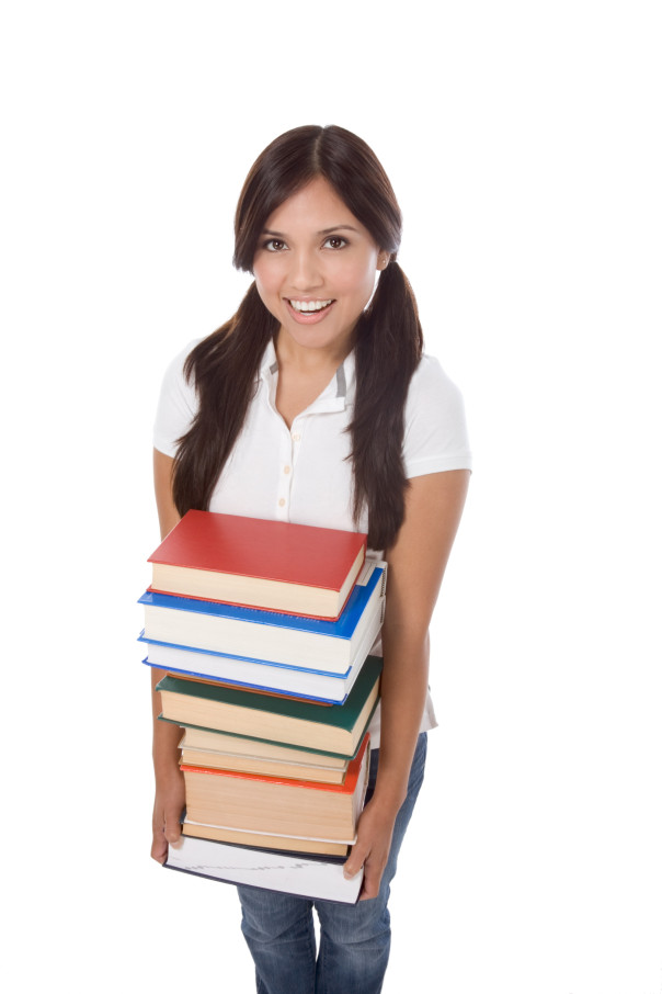 Asian girl with books